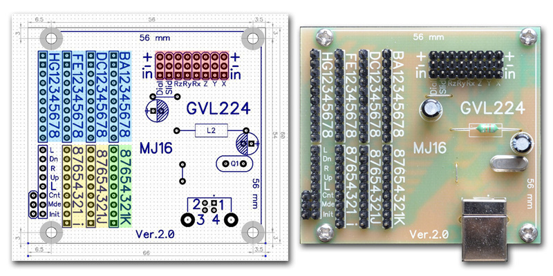 MJ16 GVL224 USB circuit board includes eight axis slots and 120 button functions.